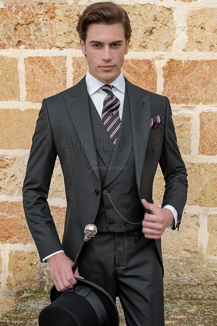 Modern black pinstriped morning coat, italian tailoring cut slim