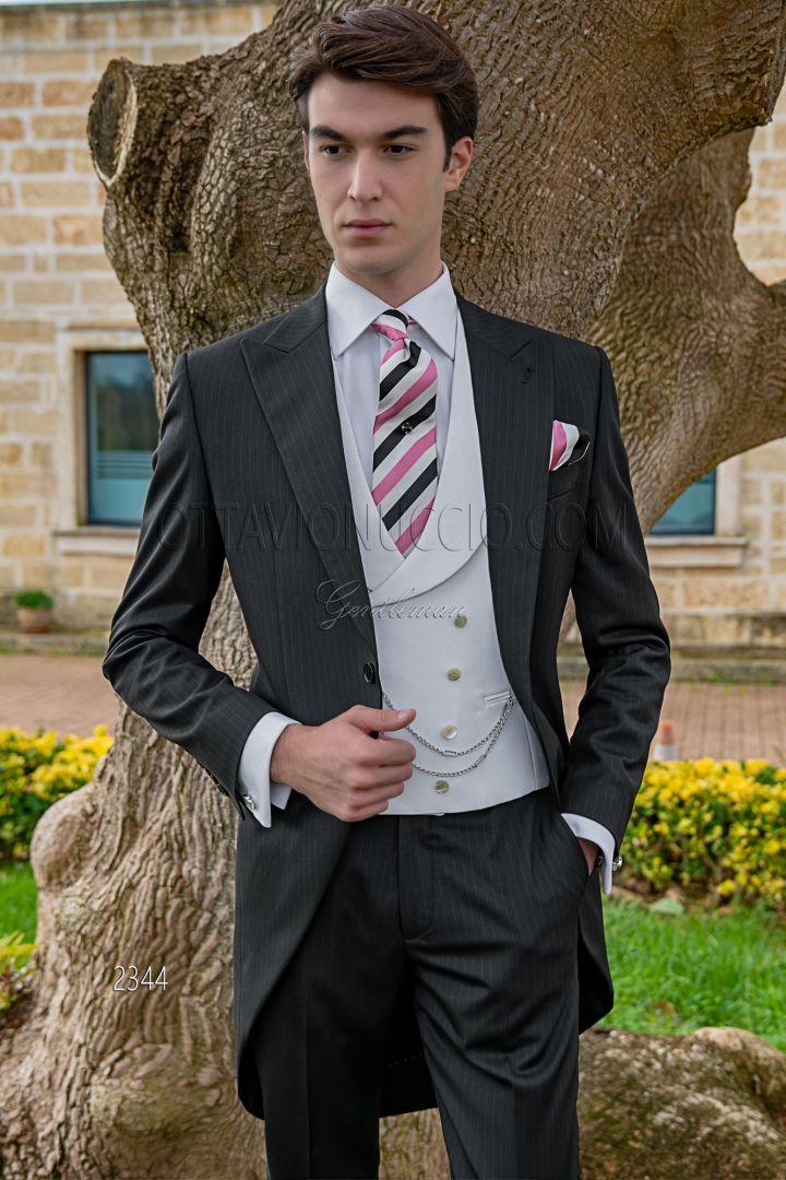 Modern italian black morning suit for groom