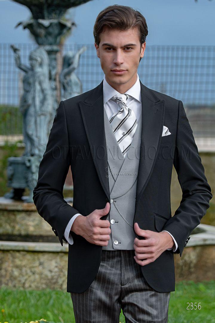 Traje de novio media etiqueta negro, pantalón gris de rayas