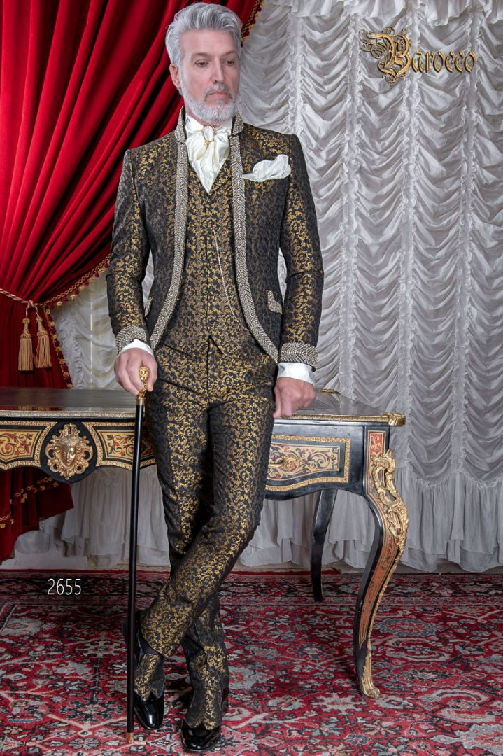 costume de mariage vintage de luxe en brocart noir or avec cristaux ottavio nuccio gala. Black Bedroom Furniture Sets. Home Design Ideas