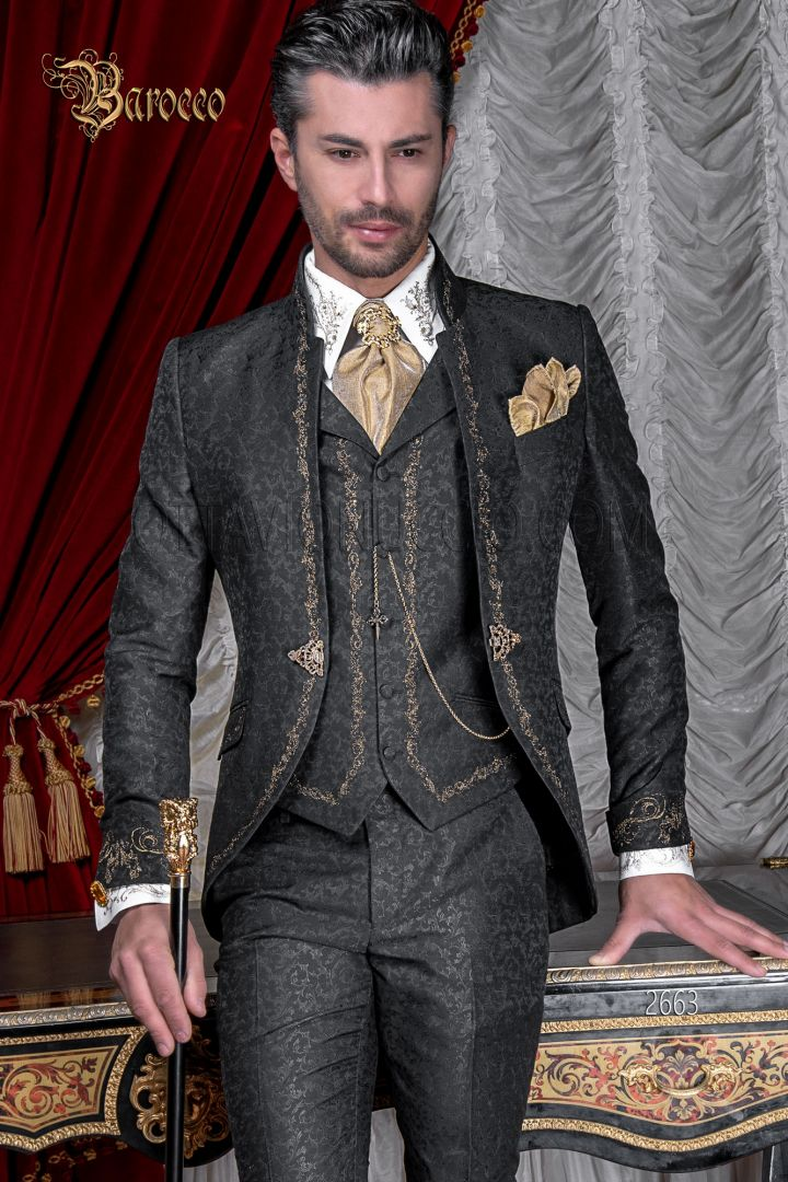 Korean collar italian groom suit embroidered gold on black brocade