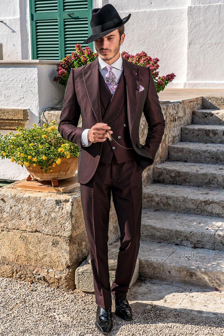 Abiti Da Cerimonia 3 Pezzi.Abito 3 Pezzi Da Cerimonia Uomo Vintage Bordeaux Ottavio Nuccio Gala