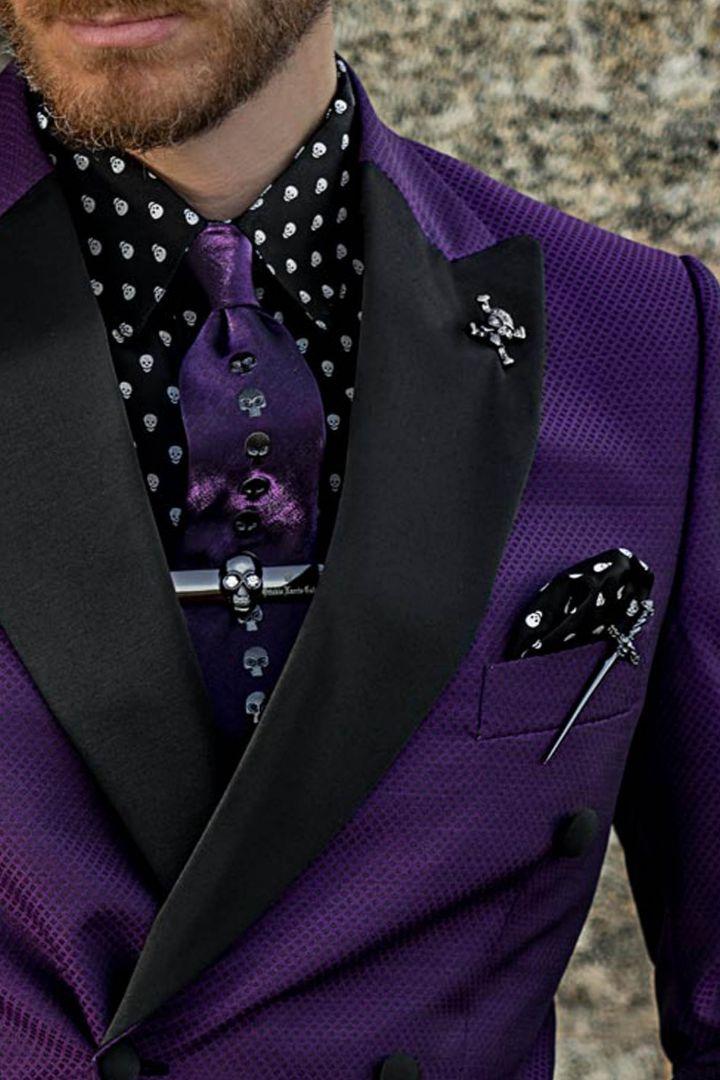 Gothic Mode violett zweireihig Slim Fit Herren Anzug
