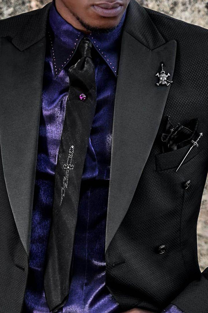 Gothic Mode zweireihig slim fit schwarze Anzug für Herren