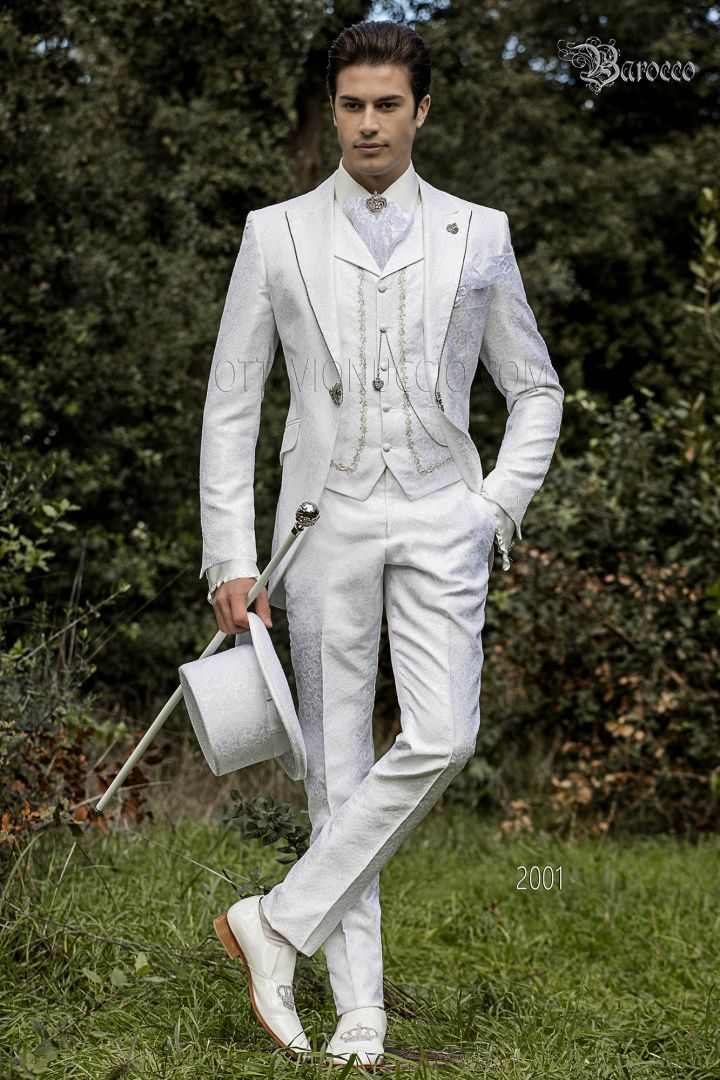 White brocade baroque Suit with crystal rhinestone on lapel