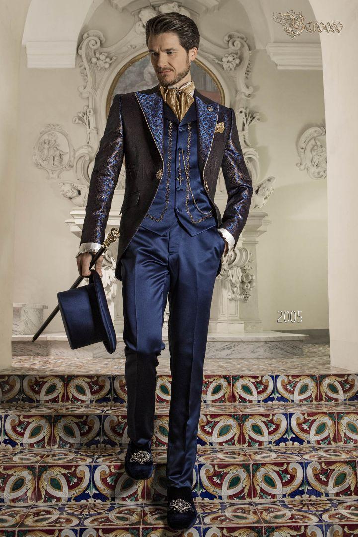 Traje de época brocado azul y oro estilo barroco