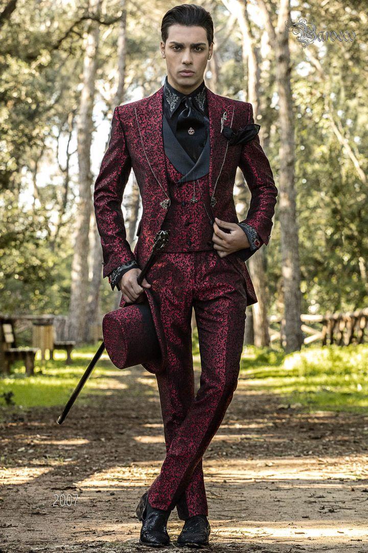 Traje de novio Barroco en jacquard rojo y negro con cristales strass en las solapas