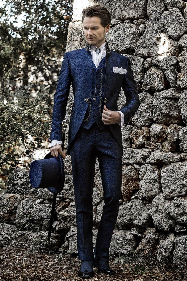 Traje Gótico levita de novio vintage brocado azul-negro y cuello Mao con pedrería negra