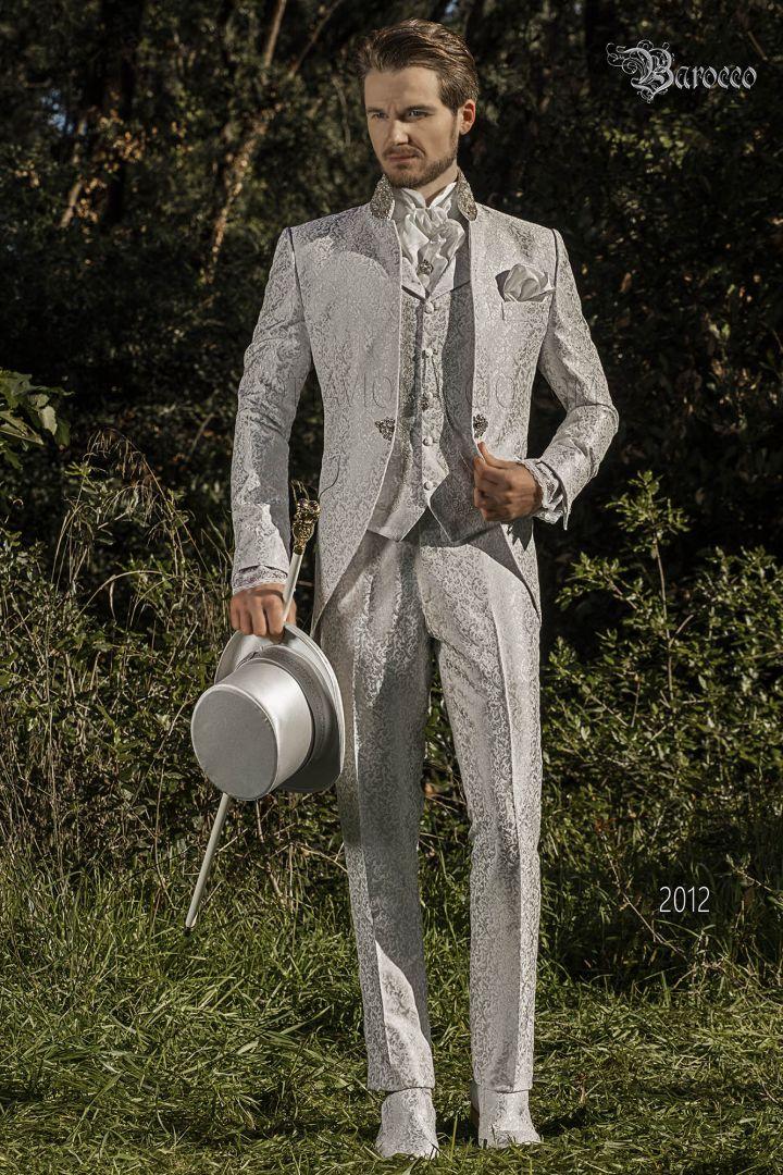 Italienische Barock anzug hochzeit pearl grey brokat mit Mao Kragen