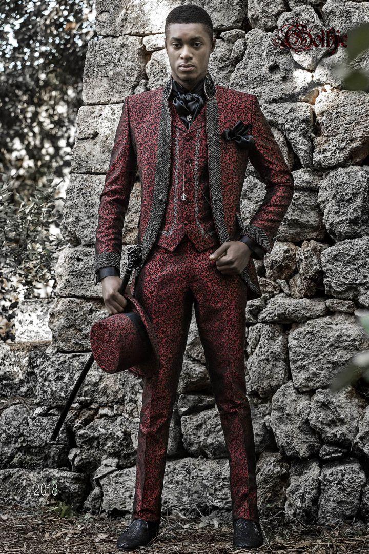 Luxury italian wedding suit in red brocade with mao collar