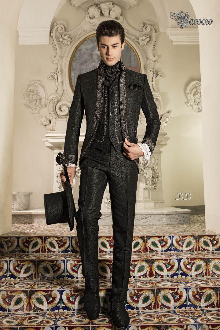 Traje de novio barroco brocado negro con cuello Mao con pedrería negra