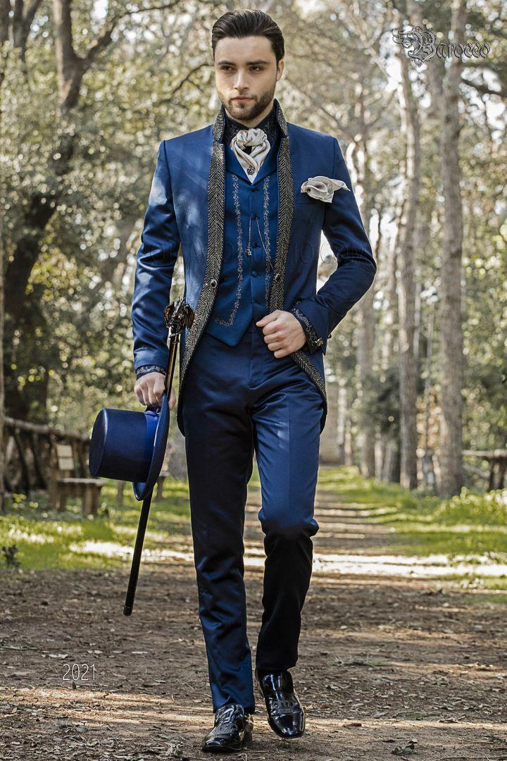 Italian wedding groom suit in blue satin fabric with mao collar