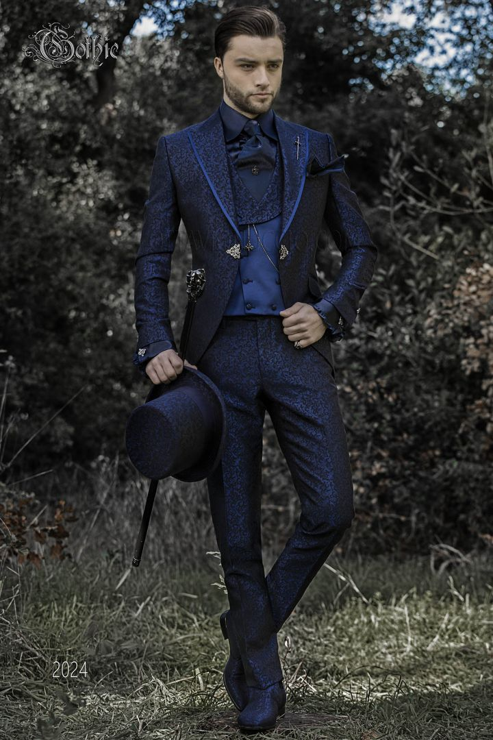 Blue brocade baroque groom suit with satin profile and clasp closure