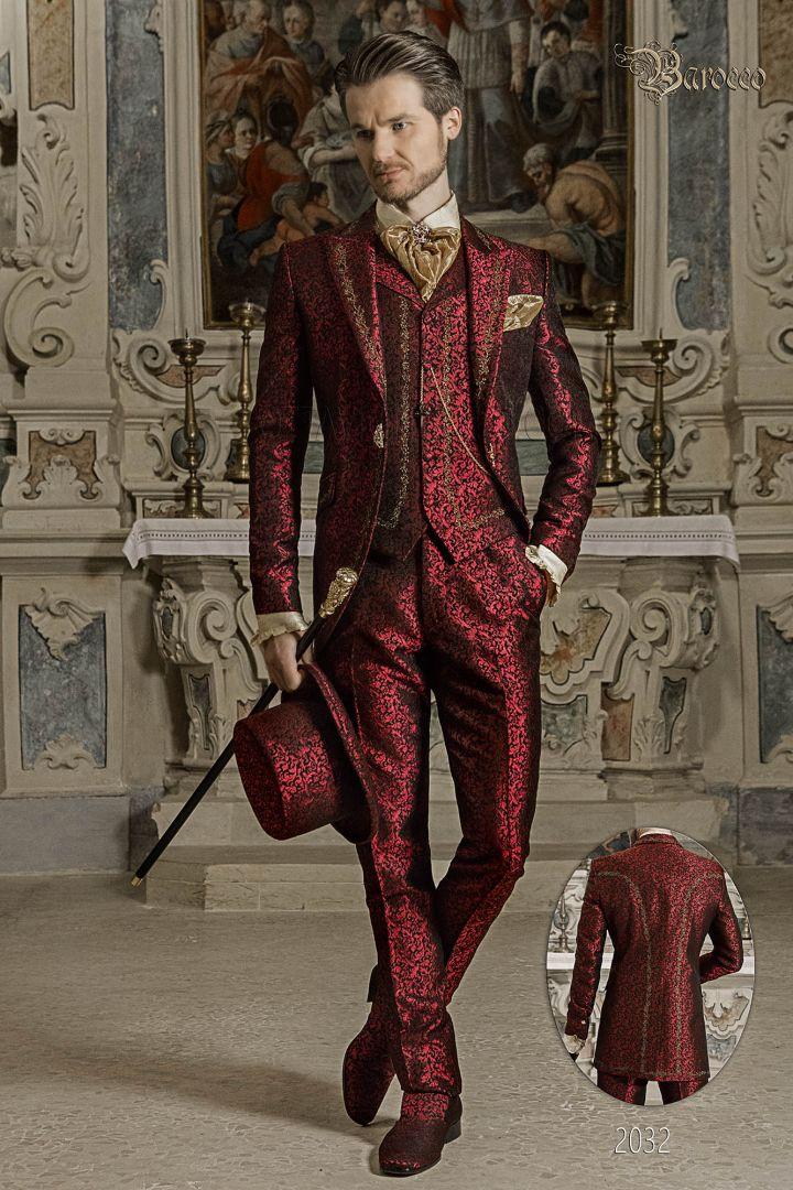 Traje de novio barroco, levita de época en tejido jacquard rojo con bordados dorados