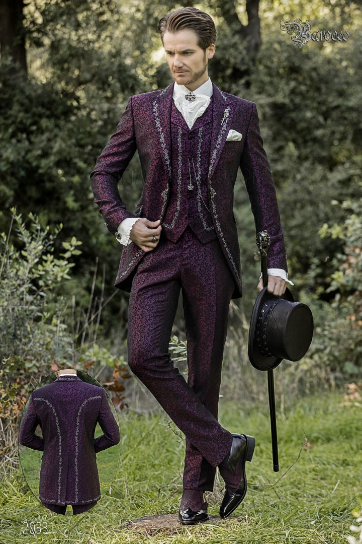 Luxury groom suit in purple brocade fabric with silver embroidery