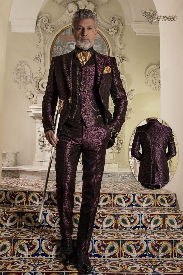 Barock bräutigam anzug, vintage gehrock in lilem brokat mit goldener stickerei