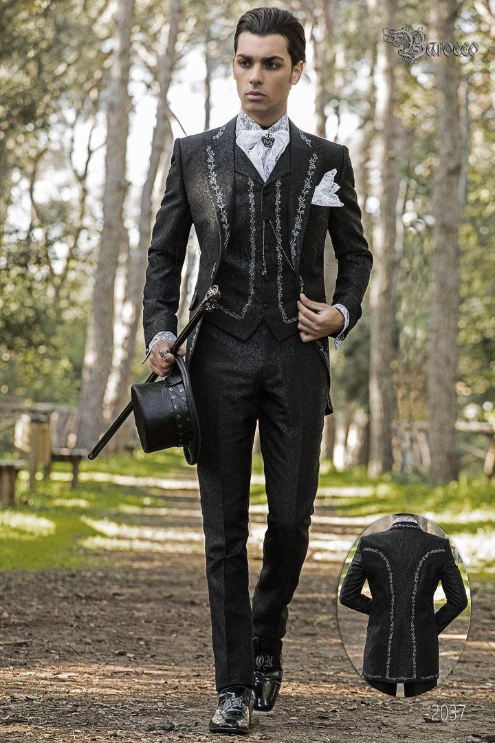 Vestito sposo damascato nero ricamato argento stile gotico