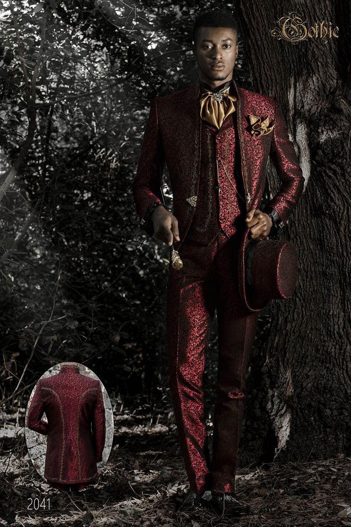Luxury wedding suit in red brocade fabric with gold embroidery