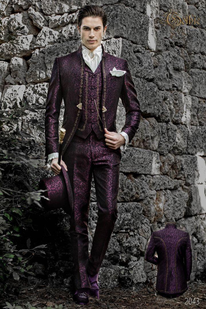 Costume de marié col mao vintage gothique violet avec broderie doré