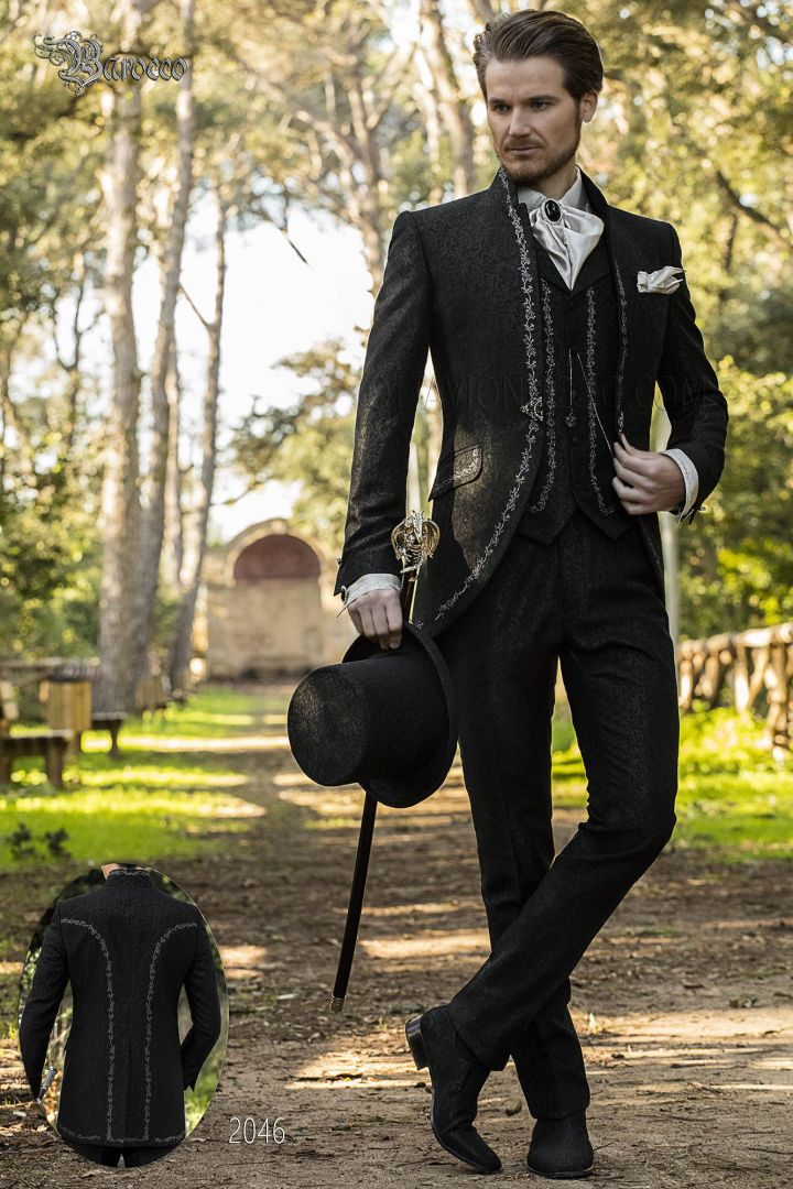 Italian groom suit in black brocade with mao collar and silver embroidery