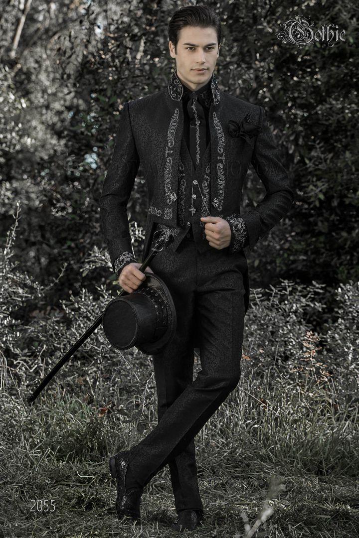 Queue-de-pie homme col mao gothique noir avec broderie argent et strass