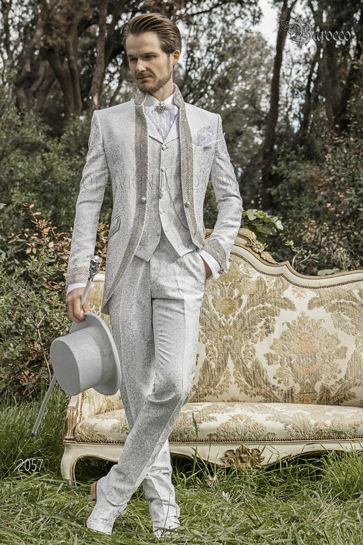 Luxury italian groom suit in pearl gray brocade fabric with mao collar