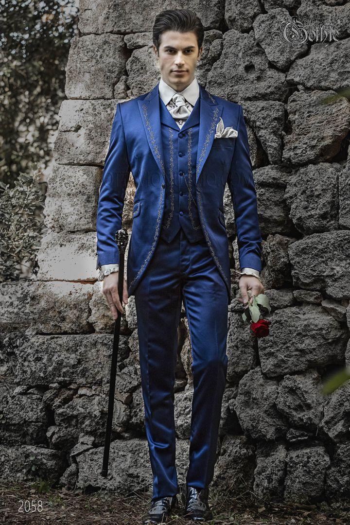 Gothic bräutigam anzug, in blauer satingewebe vintage gehrock
