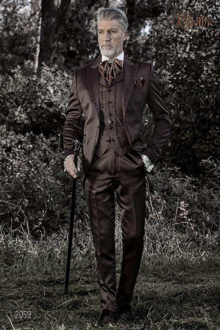 Levita redingote de novio Gótico en raso marrón con bordados bronce