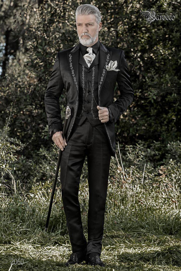 Costume redingote mariage gothique, satin noir brodé argent