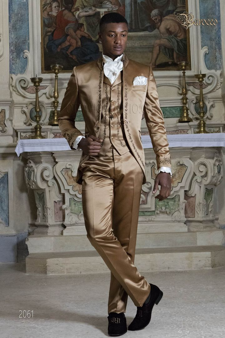 Groom suit in golden satin fabric with bronze embroidery