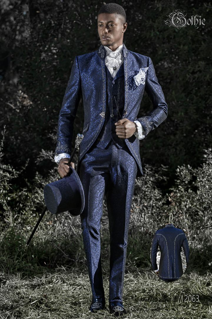 Luxury italian blue brocade frock coat with napoleon collar and silver embroidery