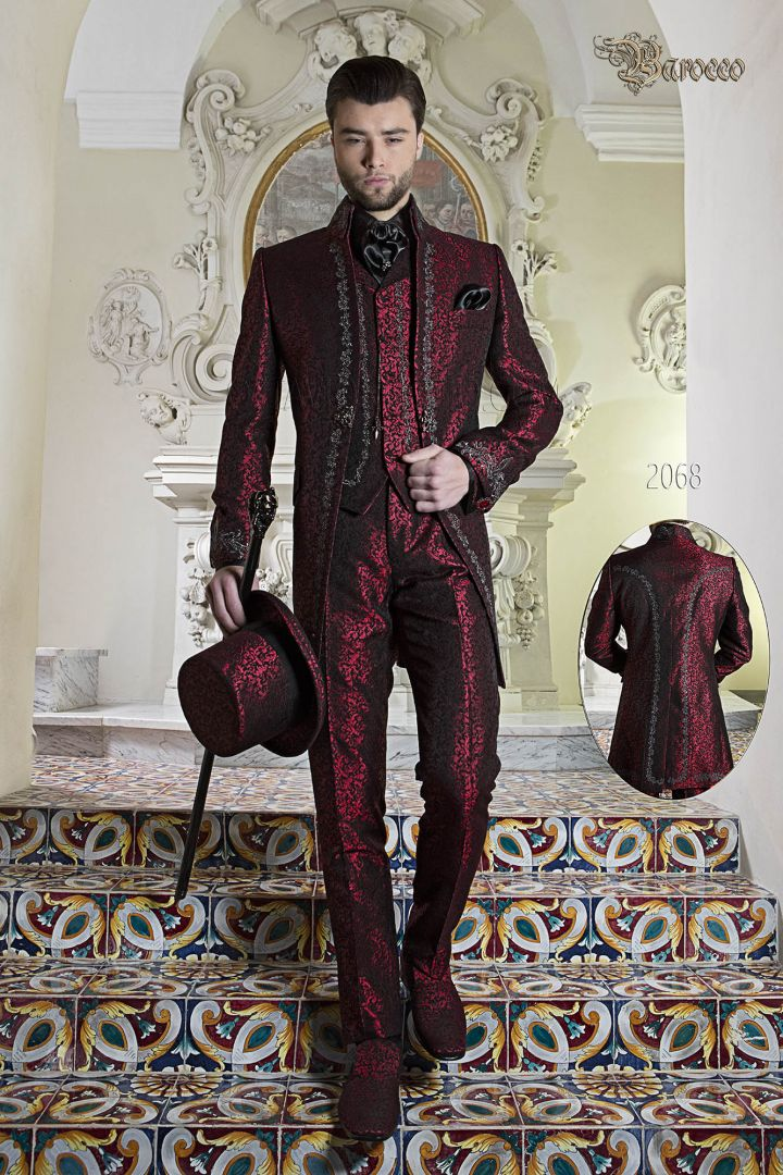 Frock coat in red brocade fabric with silver embroidery and napoleon collar