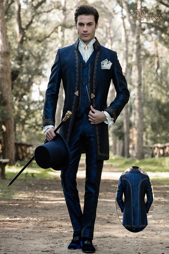 Barock anzug hochzeit blau jacquard mit goldener stickerei