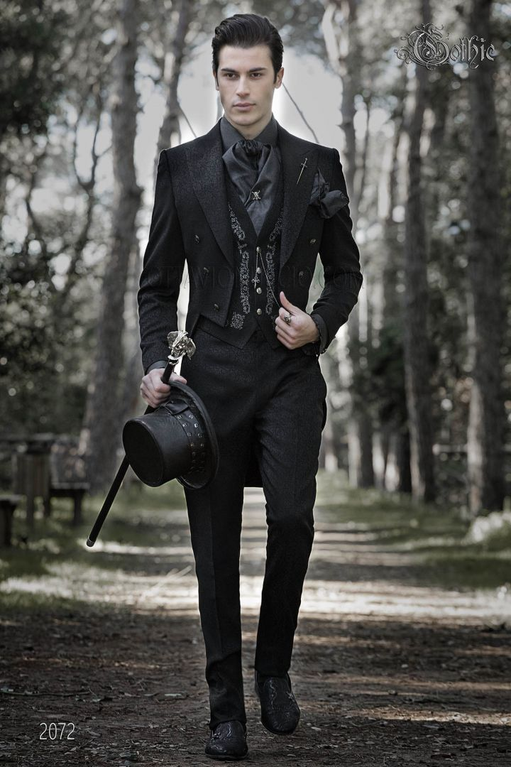 Luxury Tail coat in black brocade fabric in Gothic style