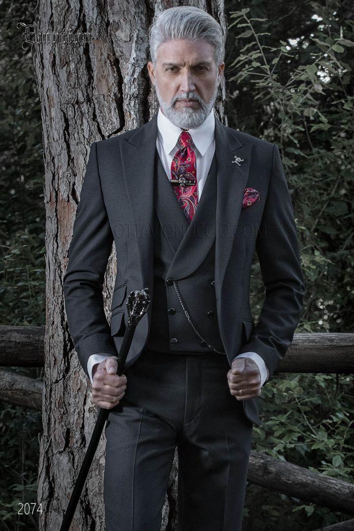 Black italian groom suit in wool blend with ticket pocket