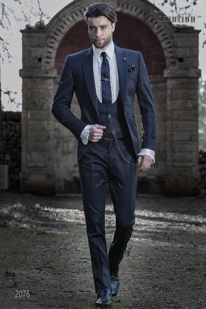 Italian wedding suit in blue with satin lapel