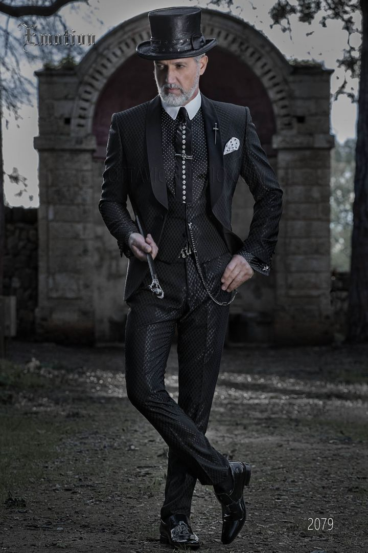 Italian groom suit in black gingham fabric with shawl collar