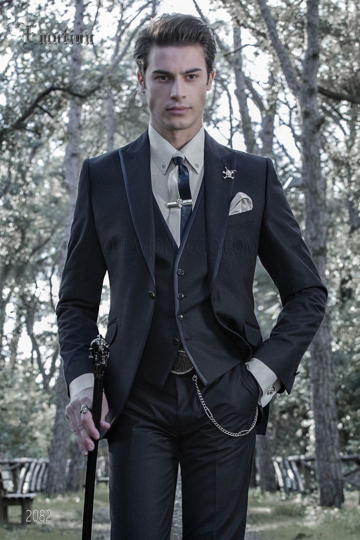 Blue dark italian bespoke suit for groom in weave fabric