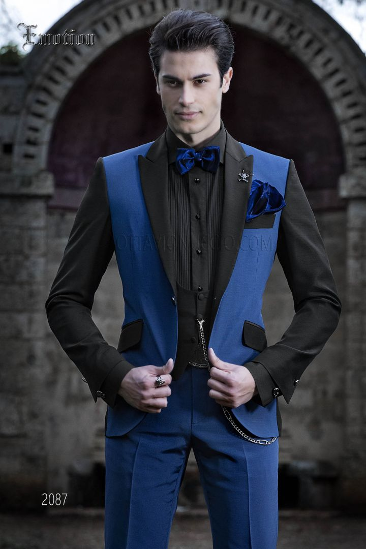 Blue and black patchwork men groom suit with peak lapel
