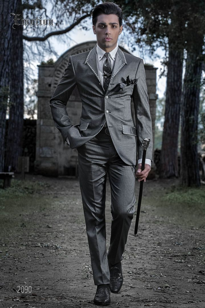Italian hipster groom suit for men in gray pinstripe fabric