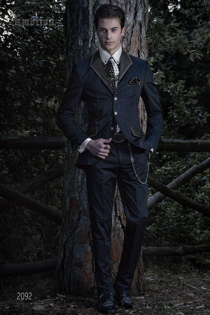 Italian steampunk blue suit with metal application on lapel