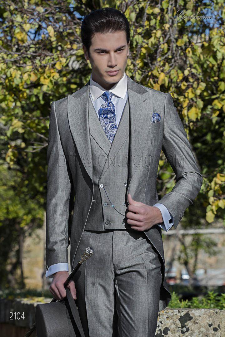 Abito sposo tight moderno grigio in lana mohair