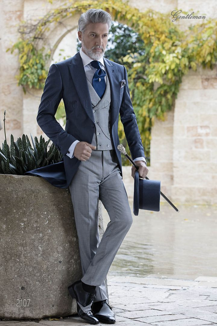 Italian bespoke groom suit in blue wool blend with grey combination