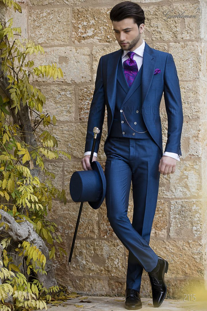 Morning formal dress suit royal blue with peak lapel