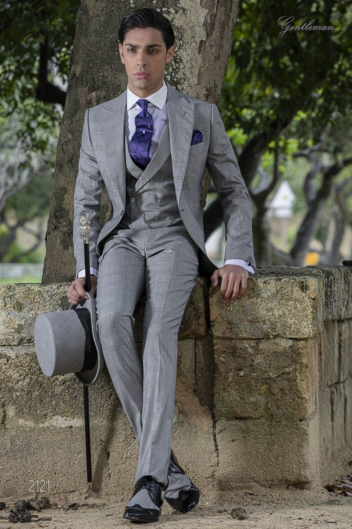 Bespoke Morning Dress in grey Prince of Wales with double breasted vest