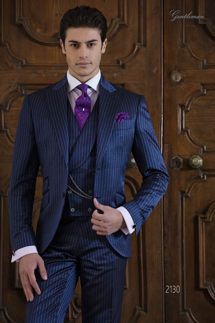 High fashion Groomsmen suit in blue royal pinstriped fabric