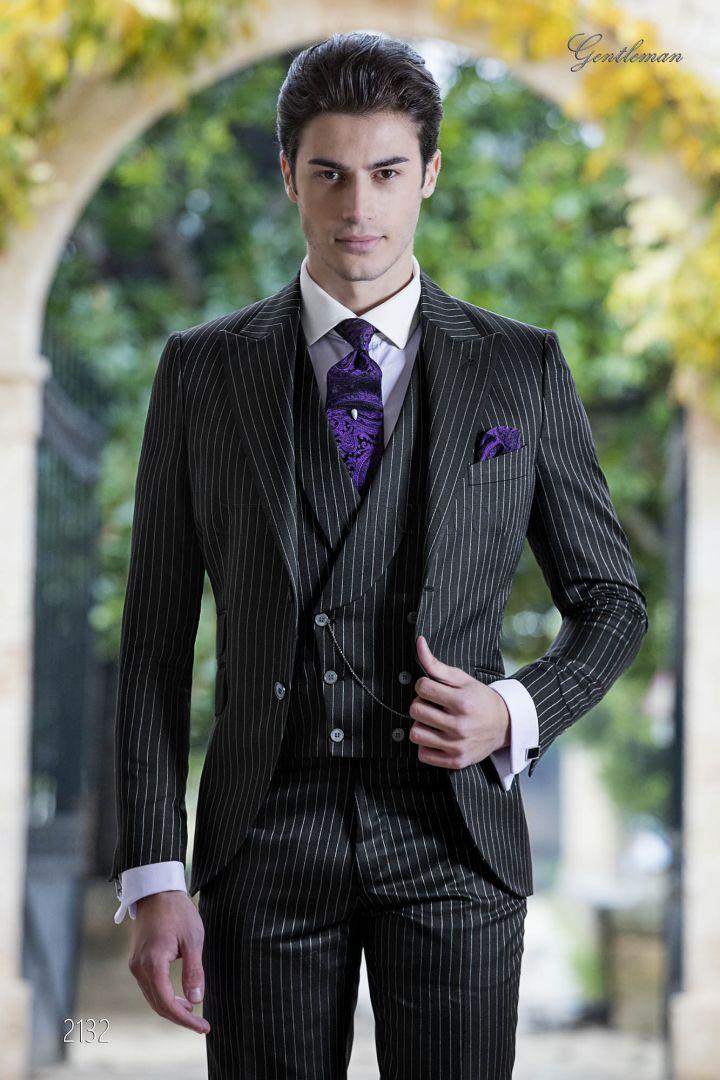 Vintage nadelstreifen schwarze Anzug