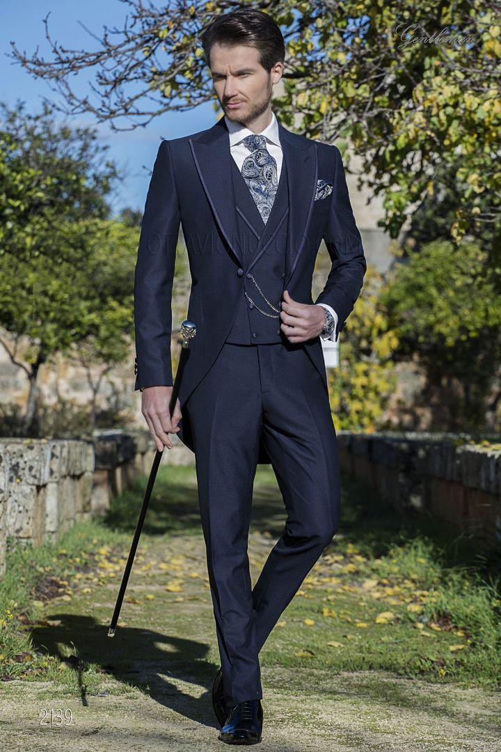 Completo da sposo tight moderno blu misto lana mohair