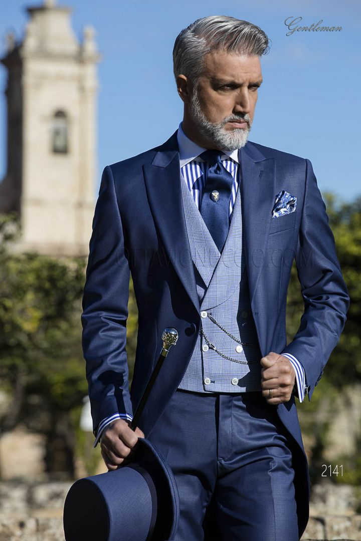Italian Morning suit in blue wool blander with Prince of Wales vest