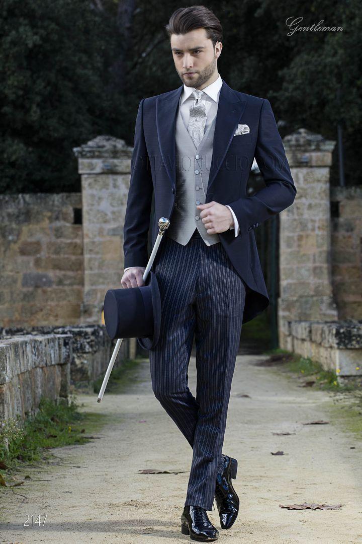 Completo sposo tight moderno blu con pantalone al tono rigato blu